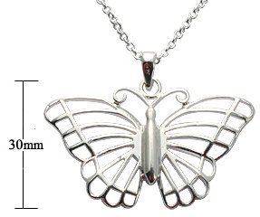 Silver Pendant - Cut out Butterfly design - Comes with 16' silver link chain. Beautifully designed and hand polished to a very high jewellery standard. delicately packed in a lovely velvet pouch. You can buy the matching earrings also: see menu below