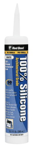 Red Devil 0816 100% Silicone Sealant White Architectural Grade 50 Yr.10.1 Oz. Cartridge