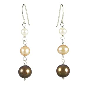 Golden Multi-Colored Fresh Water Pearl Drop Earrings