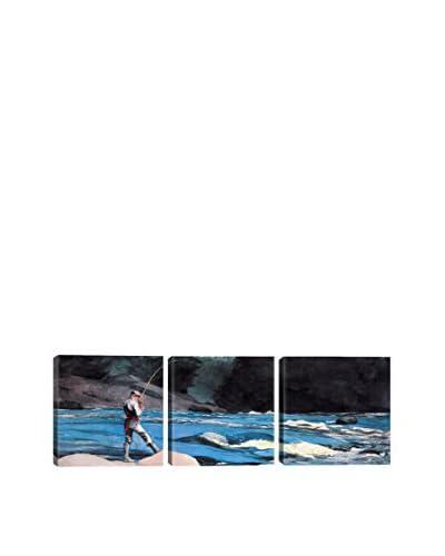 Winslow Homer Ouananiche Lake St John (Panoramic) 3-Piece Canvas Print