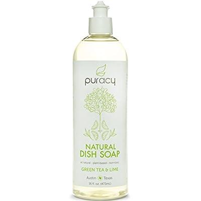 Puracy Natural Liquid Dish Soap, Green Tea & Lime, 16 Ounce (Pack of 3)