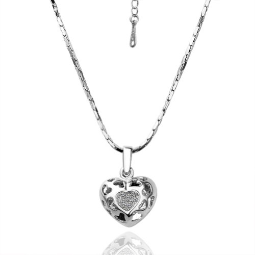 Virgin Shine Silver-Plate Spakling Heart Fashion Style Necklace