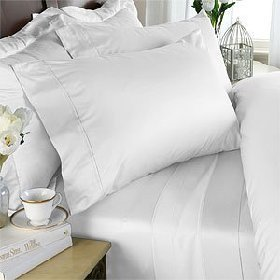 1000-Thread-Count Egyptian Cotton 6pc Bed Sheet Set, INCLUDES 4 PILLOW CASES 1000TC, King Size, White Solid 1000 TC