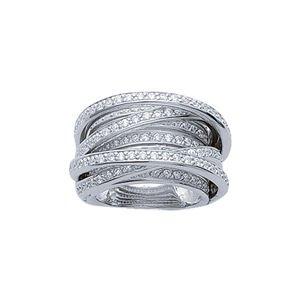 so chic bijoux bague anneau spirale multi rangs luxe oxyde de zirconium blanc argent massif. Black Bedroom Furniture Sets. Home Design Ideas