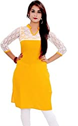 Bhavya Enterprise Self Design Women'S Kurti(Yellow)