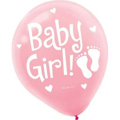 Baby Girl Pink 12in Balloons 15ct