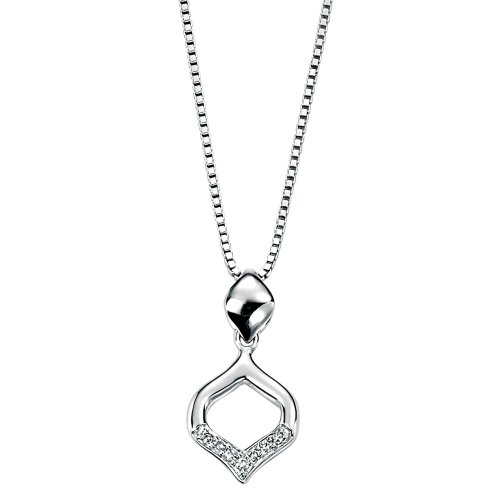 Diamond Curve Shaped Pendant in 9 Carat White Gold by Elements with 41cm Box Chain