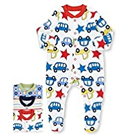 3 Pack Pure Cotton Transport Sleepsuits