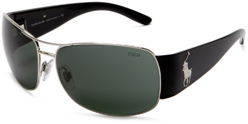 Polo Ralph Lauren Men's 0Ph3042 Metal Sunglasses,Silver/Black Frame/Grey Green Lens,one size