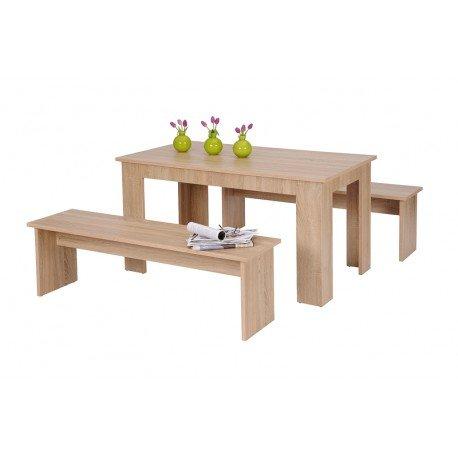 AVANTI-TRENDSTORE-wunderschne-Tischgruppe-1x-Esstisch-2x-Bank-aus-Eichesonoma