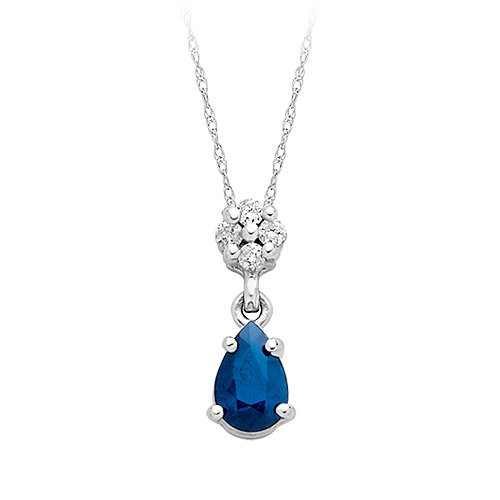 Sapphire and Diamond Fashion Pendant in 14K White Gold
