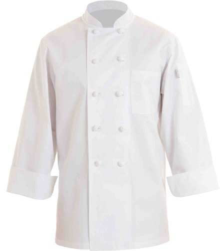 Chef Works CBCC-WHT Colmar 100 percent Cotton Basic Chef Coat, White, Size XS