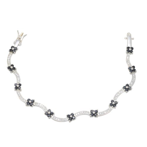 Silver Black and White Cubic Zirconia Flowers Wavy Bracelet 7'