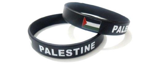 Palestine Multicolor Country Flag Unisex Silicone Bracelet Rubber Sport Wristband Cuff 8 Inches 20.2 Cm