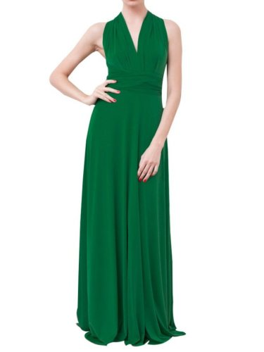 VonVonni Women's Transformer Dress, Long One Size Fits All Kelly Green