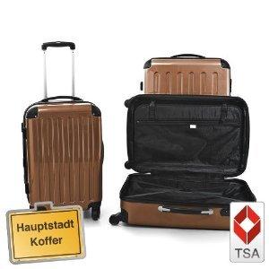 3er Set Hartschalen Kofferset Trolley braun TSA