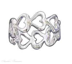 Sterling Silver Open Multiple Heart Band Ring Size 5
