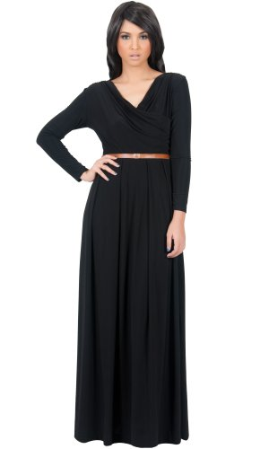Koh Koh Women's Designer Crossover Wrap Chest Long Sleeve Maxi Dress – Large – Black