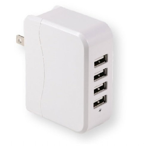 USB 4-Port Wall Charger 25W, 5v x 5A, with Folding Plug for Office use or traveling, Will charge: iPhone 6,5,4S,4,iPad ,Samsung Galaxy S4 S3, Tab3,2, Android.(White Color) Produced by Cyber Business.