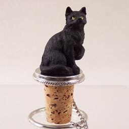Short Hair Black Cat Wine Bottle Stopper with Chain and Loop
