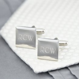 Personalized Silver Square Cuff Links Cufflinks