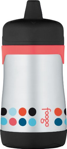 THERMOS FOOGO Vacuum Insulated Stainless Steel 10-Ounce Hard Spout Sippy Cup, Poppy Patch Pattern