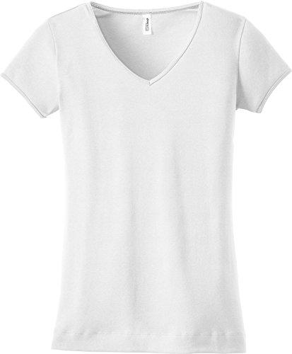 District Juniors 1x1 Rib V-Neck T-Shirt-L (Bright White)
