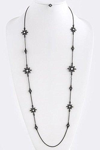 [KARMAS CANVAS OCTAGRAM CRYSTAL LINK NECKLACE SET (Clear/Black)] (Lobster Claw Costume Pattern)