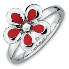 Heartfelt Silver Stackable Red Enameled Flower Ring. Sizes 5-10 Available