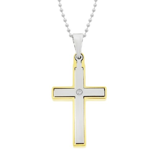 Men's Stainless Steel Cubic Zirconia and Gold Ion-Plated Cross Pendant Necklace, 22