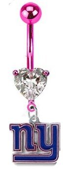"New York Giants ""Love Collection"" PREMIUM Pink w/ Large Heart Gem Titanium Anodized Sexy Belly Button Navel Ring at Amazon.com"