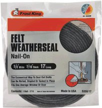 Frost King S258/17H Felt Weather-Strip 5/8-Inch by 3/16-Inch by 17-Feet, Grey