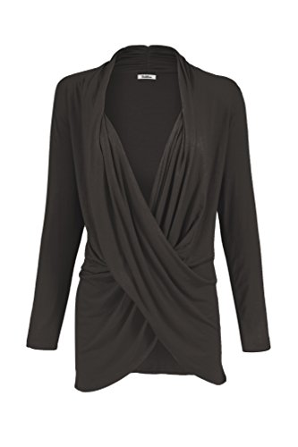 2LUV Women's Long Sleeve Criss Cross Drape Front Top Black1 M (Surplice Top compare prices)