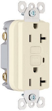 Pass & Seymour Gfci Receptacle Tamper Prf 20 Amp 125 V Ivory Feed Ul Bx