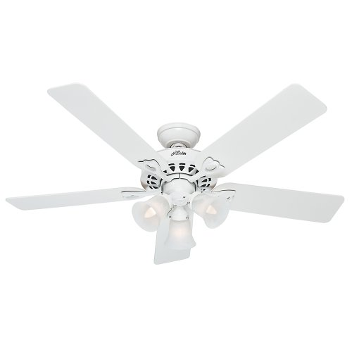 Hunter Fan Company 53114 The Sontera 52-Inch Ceiling Fan with Five White/Bleached Oak Blades and Light Kit, White (White Remote Control Ceiling Fan compare prices)