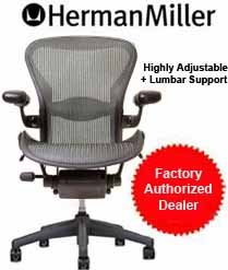 Aeron Chair by Herman Miller - Home Office Desk Task Chair Fully Loaded Highly Adjustable Medium Size (B) - Lumbar Back Support Cushion Graphite Frame Classic Pyrite Pellicle