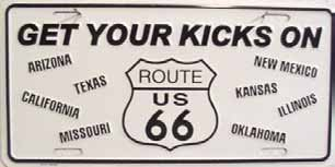 Smart Blonde Get Your Kicks On Route 66 Eight State Novelty Vanity Metal License Plate Tag Sign