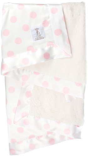 Little Giraffe Luxe Cream Dot Baby Blanket, Pink