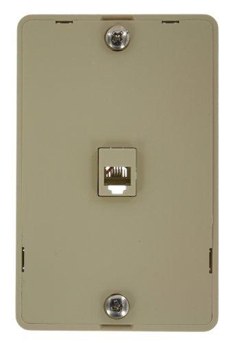 Leviton 40914-I Telephone Wall Phone Jack, 6P4C, Screw Terminal, Ivory