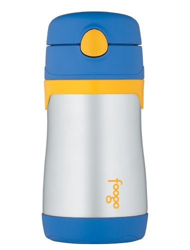Thermos Foogo Phases Leak Proof Stainless Steel Straw Bottle, Blue/Yellow, 10 Ounce Color: Blue/Yellow Size: 10 Ounce Newborn, Kid, Child, Childern, Infant, Baby front-1056394