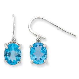 Sterling Silver Rhodium Lt Swiss Blue Topaz Wire Earrings