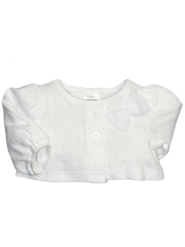 Baby Infant Girls White Pointelle Cardigan With A Bow By Baby Starters - White - 12 Mths / 20-24 Lbs