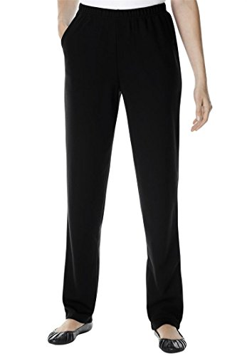 Women's Plus Size Tall Slim Fit Ponte Knit Pants Black,14 T