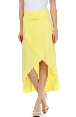 Sakkas 0326 Soft Jersey Feel Solid Color Strapless High Low Dress / Skirt - Yellow/Medium