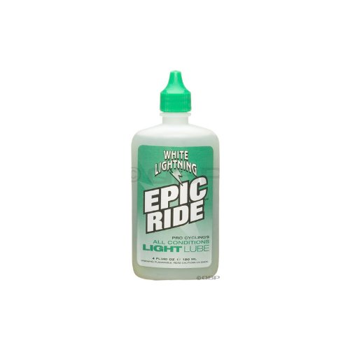 White Lightning Epic Ride All Conditions Light Bicycle Chain Lube, 4-Ounce Drip Squeeze Bottle