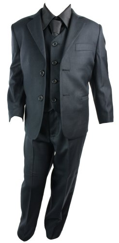 Kids Boys 3 Piece Suit Navy Blue Self Stripe Premium Collection
