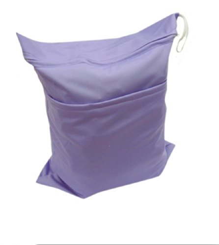 Solid Color Baby Cloth Diaper Waterproof Zippered Wet/Dry Bags, Purple