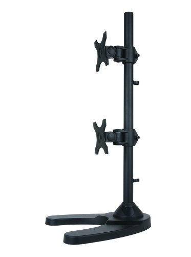 """Dual Lcd Monitor Desk Stand/Mount Free Standing, Holds Vertical 2 Screens Up To 27"""" ~ (By Vivo)"""