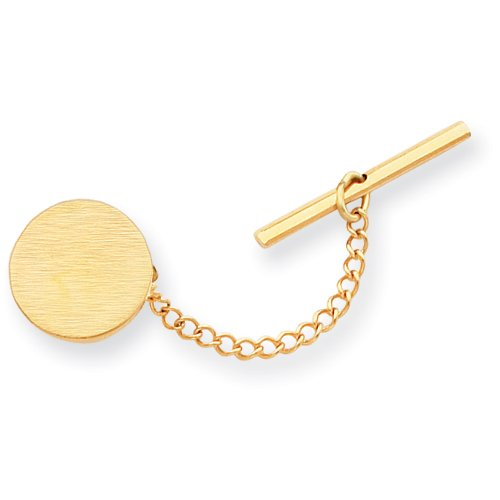 Gold-plated Round Satin Tie Tack