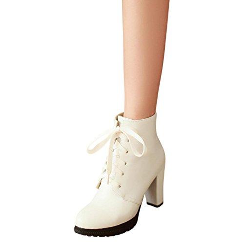 Hee Grand Damen Winter Warm High Heels Absatz Bandage Kurzschaft Damen Schuhe Damenstiefel Damenschuhe CN 35 Weiss